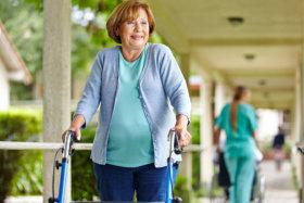 Elderly woman doing walking exercise